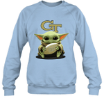 Baby Yoda Hug Georgia Tech Yellow Jackets The Mandalorian Sweatshirt