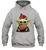 Baby Yoda Hug Louisville Cardinals Cardinals The Mandalorian Hoodie