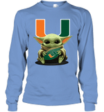Baby Yoda Hug Miami Hurricanes The Mandalorian Long Sleeve T-Shirt