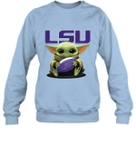 Baby Yoda Hug LSU Tigers The Mandalorian Sweatshirt
