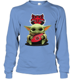 Baby Yoda Hug Arkansas State Red Wolves The Mandalorian Long Sleeve T-Shirt