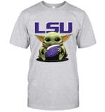 Baby Yoda Hug LSU Tigers The Mandalorian T-Shirt
