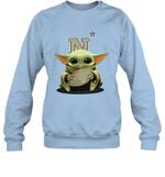 Baby Yoda Hug Navy Midshipmen The Mandalorian Sweatshirt