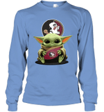 Baby Yoda Hug Florida State Seminoles The Mandalorian Long Sleeve T-Shirt