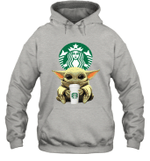 Baby Yoda Loves Starbucks Coffee The Mandalorian Fan Hoodie