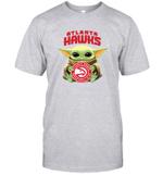 Baby Yoda Loves Atlanta Hawks The Mandalorian Fan T-Shirt