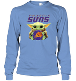 Baby Yoda Loves Phoenix Suns The Mandalorian Fan Long Sleeve T-Shirt