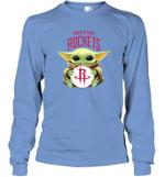 Baby Yoda Loves Houston Rockets The Mandalorian Fan Long Sleeve T-Shirt