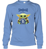 Baby Yoda Loves San Diego Padres The Mandalorian Fan Long Sleeve T-Shirt