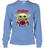 Baby Yoda Loves Cleveland Indians The Mandalorian Fan Long Sleeve T-Shirt