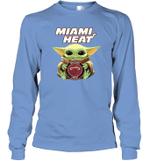 Baby Yoda Loves Miami Heat The Mandalorian Fan Long Sleeve T-Shirt