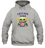Baby Yoda Loves Chicago Cubs The Mandalorian Fan Hoodie