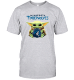 Baby Yoda Loves Minnesota Timberwolves The Mandalorian Fan T-Shirt