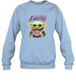 Baby Yoda Loves Los angeles LAKERS The Mandalorian Fan Sweatshirt