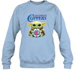 Baby Yoda Loves Los angeles Clippers The Mandalorian Fan Sweatshirt