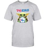 Baby Yoda Loves 76ERS The Mandalorian Fan T-Shirt