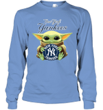 Baby Yoda Loves New York Yankees The Mandalorian Fan Long Sleeve T-Shirt