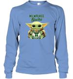 Baby Yoda Loves Milwaukee Bucks The Mandalorian Fan Long Sleeve T-Shirt