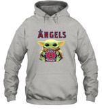 Baby Yoda Loves Los Angeles Angels The Mandalorian Fan Hoodie