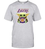Baby Yoda Loves Los angeles LAKERS The Mandalorian Fan T-Shirt