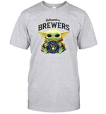 Baby Yoda Loves Milwaukee Brewers The Mandalorian Fan T-Shirt