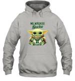 Baby Yoda Loves Milwaukee Bucks The Mandalorian Fan Hoodie