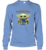 Baby Yoda Loves Golden State Warriors The Mandalorian Fan Long Sleeve T-Shirt