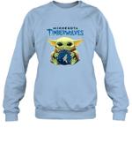 Baby Yoda Loves Minnesota Timberwolves The Mandalorian Fan Sweatshirt