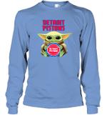 Baby Yoda Loves Detroit Pistons The Mandalorian Fan Long Sleeve T-Shirt