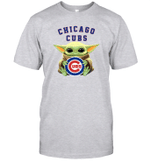 Baby Yoda Loves Chicago Cubs The Mandalorian Fan T-Shirt