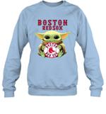 Baby Yoda Loves Boston Red Sox The Mandalorian Fan Sweatshirt