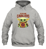 Baby Yoda Loves Cleveland Cavaliers The Mandalorian Fan Hoodie