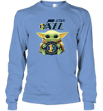 Baby Yoda Loves Utah Jazz The Mandalorian Fan Long Sleeve T-Shirt