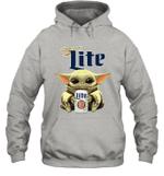Baby Yoda Loves Miller Lite Beer The Mandalorian Fan Hoodie
