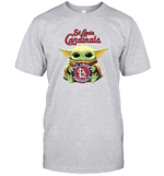 Baby Yoda Loves St.Louis Cardinals The Mandalorian Fan T-Shirt