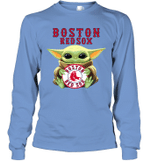 Baby Yoda Loves Boston Red Sox The Mandalorian Fan Long Sleeve T-Shirt