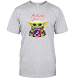 Baby Yoda Loves Atlanta Braves The Mandalorian Fan T-Shirt