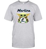 Baby Yoda Loves Miami Marlins The Mandalorian Fan T-Shirt