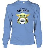 Baby Yoda Loves San Antonio Spurs The Mandalorian Fan Long Sleeve T-Shirt