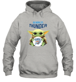 Baby Yoda Loves Oklahoma City Thunder The Mandalorian Fan Hoodie