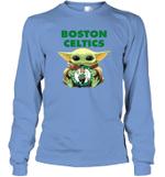 Baby Yoda Loves Boston Celtics The Mandalorian Fan Long Sleeve T-Shirt