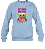 Baby Yoda Loves Detroit Pistons The Mandalorian Fan Sweatshirt
