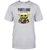 Baby Yoda Loves Portland Trail Blazers The Mandalorian Fan T-Shirt