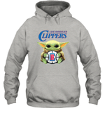 Baby Yoda Loves Los angeles Clippers The Mandalorian Fan Hoodie