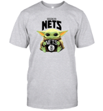 Baby Yoda Loves Brooklyn Nets The Mandalorian Fan T-Shirt