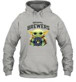 Baby Yoda Loves Milwaukee Brewers The Mandalorian Fan Hoodie