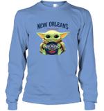 Baby Yoda Loves New Orleans Pelicans The Mandalorian Fan Long Sleeve T-Shirt