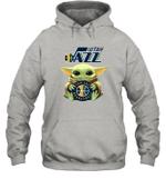 Baby Yoda Loves Utah Jazz The Mandalorian Fan Hoodie