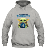 Baby Yoda Loves Minnesota Timberwolves The Mandalorian Fan Hoodie
