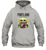 Baby Yoda Loves Portland Trail Blazers The Mandalorian Fan Hoodie